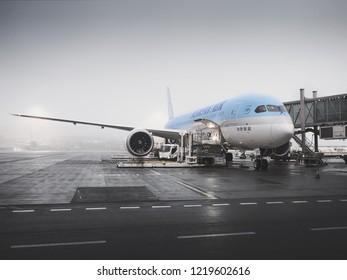 PRAGUE - SEPTEMBER 29, 2018: Korean Air Boeing 787-9 dreamliner at Vaclav Havel Airport Prague on SEPTEMBER, 2018. Korean air is the flag carrier airline of South Korea