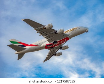 PRAGUE - SEPTEMBER 31, 2018: Emirates Airbus A380 airliner take off SEPTEMBER 31, 2018 in Prague, Czech Republic. The A380 is currently the largest passenger airliner.