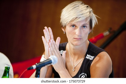 PRAGUE - SEPTEMBER 5: Czech javelin thrower Barbora Spotakova during press conference in Prague, Czech republic, September 5, 2012.
