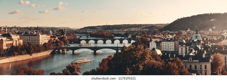 Prague skyline and bridge over river in Czech Republic panorama.