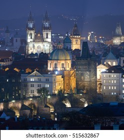 Prague Skyline by night with Tyn Church in backgroud