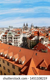 Prague Skyline, include tyn church, seen from  Astronomical Tower