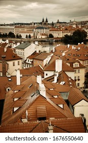 Prague skyline rooftop view with historical buildings in Czech Republic.