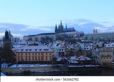 Prague snowy view