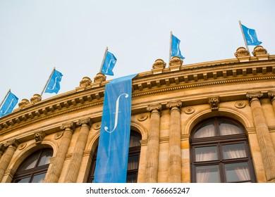 PRAGUE SPRING ( PRAZSKE JARO ), RUDOLFINUM, CZECH REPUBLIC / CZECHIA - NOVEMBER 28, 2017: Banner with logo of music festival. Promo for classical music event and concert with orchestra and symphony