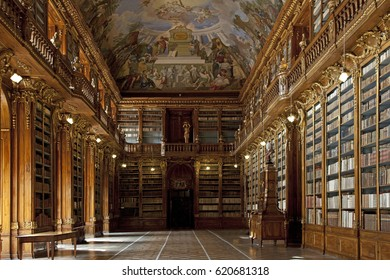 PRAGUE, STRAHOV MONASTERY - JULY 16, 2009: Founded in 1143 by Bishops J.Zdak, John of Prague and Duke Vladislav II. Pictured is Philosophical Hall, built for the books from Moravian Louka Convent.