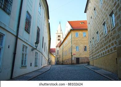 Prague streets wide angle