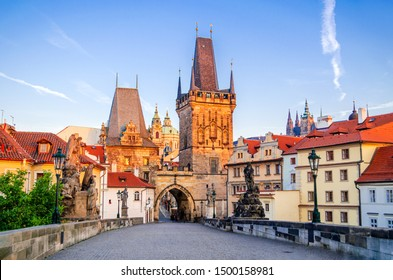 Prague, summer view with Charles Bridge and Vltava River in Czech Republic, Bohemia. - Shutterstock ID 1500158981