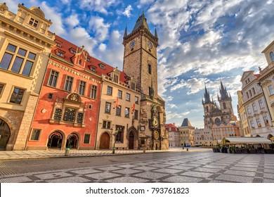 Prague sunrise city skyline at Prague old town square, Prague, Czechia