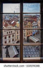 Prague Through the Old Town Hall Tower Window