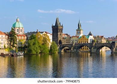 Prague towers over Vltava river