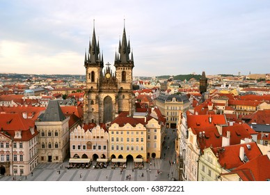 Prague, Tyn Cathedral of the Virgin Mary at sunset