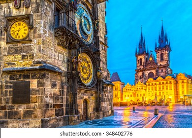 Prague, Tyn Church and Old Town Square. Czech Republic