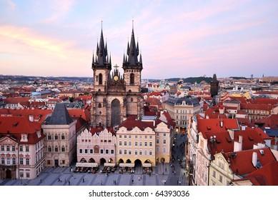 Prague. A very beautiful Tyn Church of Our Lady, 12 century