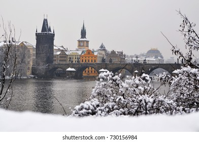 Prague. View of Charles Bridge in winter