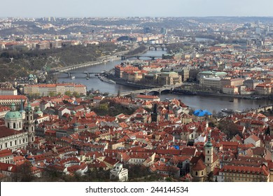Prague view from Petrin hill in spring