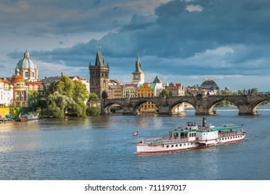 Prague - View to Vltava river and Charles Bridge