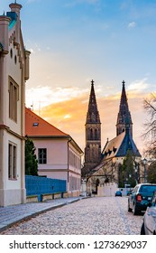 Prague, the Vysehrad cathedral. Ancient and historical church in czech capital city. Look from the street. Basilica during the sunset.