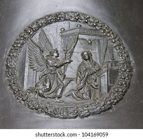 PRAGUE-APRIL 20: Detail of Zikmund bell in St. Vitus cathedral on April 20, 2012 in Prague, Czech Rep. Relief of The Annunciation to the Blessed Virgin Mary. Diameter of the frame is 40 cm.