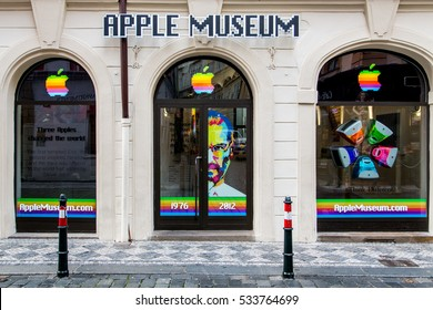 Prague,CZ, December 10, 2016. Apple museum in Prague. Original Apple computers.