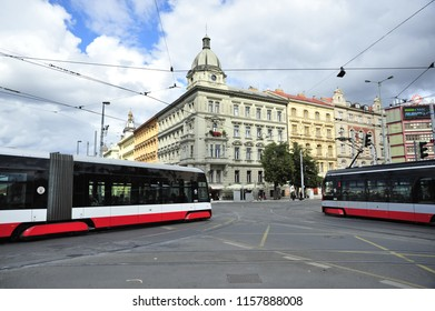 Prague/Czech Republic- 09/20/2017: Trams, seen here, keep passengers circulating around Prague's historic center.
