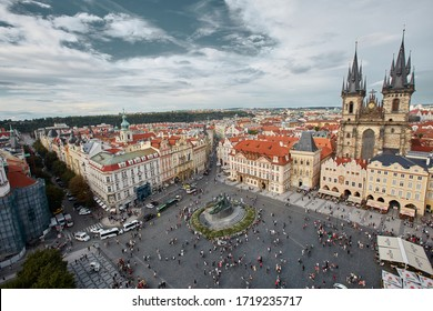 Prague,Czech Republic 15 August 2014 Old Town Hall(Staromestske namesti) is historic square in the Old Town quarter of Prague. Located between Wenceslas Square and the Charles Bridge.