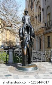 Prague/Czech Republic - April 10 2013. Monument to Franz Kafka.