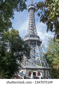 Prague/Czech Republic - August 08th, 2017: The Petřín Lookout Tower Czech: Petřínská rozhledna is a 63.5-metre-tall steel-framework tower in Prague, which strongly resembles the Eiffel Tower.