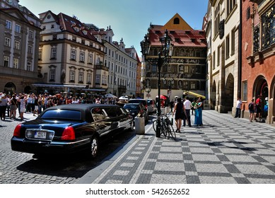 PRAGUE,CZECH REPUBLIC - AUGUST 23, 2012: Crowd of people and limousine on the square in Prague