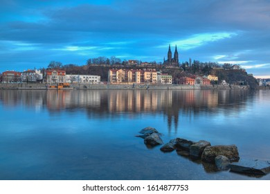 Prague,Czech Republic - January 12,2020 - View on the Vysehrad fort in the dramatic evening. Vyšehrad is a historic fort located in the city of Prague. It was built probably in the 10th century.