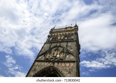 Prague,Czech Republic – July 8,2017: The Powder Tower at Prague in summer day