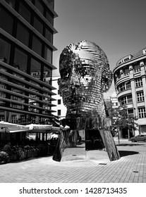 Prague/Czech Republic - June 2, 2019: Franz Kafka Sculpture