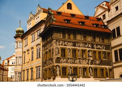 PRAGUE,CZECH REPUBLIC - JUNE 23, 2017: Kafka family home on Old Town Square in Prague, Czech Republic