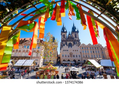 PRAGUE,CZECH REPUBLIC - MARCH 17, 2019: traditional Prague Easter market on the Old Town Square in Prague