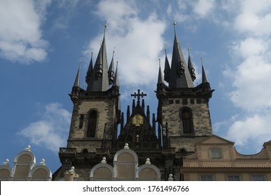 Prague/Czech Republic - Sep 15th 2018: The Church of Mother of God before Týn (Týn Church or just Týn), often translated as Church of Our Lady before Týn, is a Gothic church with two 80 m high towers.