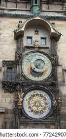 PRAGUE/CZECH REPUBLIC - SEPTEMBER 28, 2017: Prague astronomical clock in Old Town Square