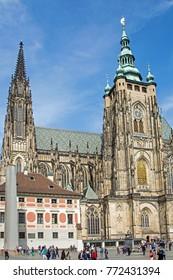 PRAGUE/CZECH REPUBLIC - SEPTEMBER 28, 2017: St Vitus Cathedral in the Prague Castle complex