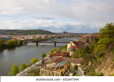 Prague,Czech Republic-April 23,2017:View from Vysehrad after rain.Vysehrad is a historic fort located in the city of Prague. It was built,probably in the 10th century, on a hill over the Vltava River.
