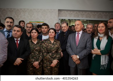 PRAGUE,CZECH REPUBLIC-APRIL 3:  Kurdish militia , fighting radical Islamists in Syria, opened its representation office for Europe on  April 3, 2016  in Prague