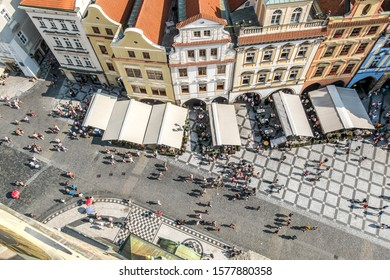 Prague.Czech Republic.August 30, 2019. View of the old town square from the roof of the town Hall in Prague.