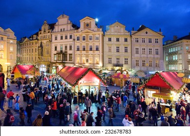 PRAGUE,CZECH REPUBLIC-DEC 25, 2012: Prague Christmas market on Old Town Square on december 15, 2012 in Prague