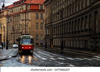 Prague,Czech Republic-November 19, 2016: Trolleybus in the streets of Prague city in a rainy day.