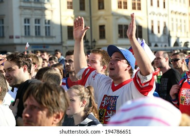 PRAGUE-MAY 24 : Czech fans cheering at the World Ice Hockey Championship 2014 in Prague's Old Town Square, May 24, 2014