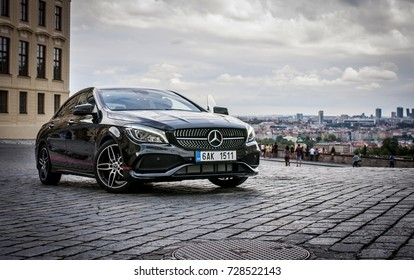 PRAGUE,THE CZECH REPUBLIC, 31.8.2017: Closeup of Mercedes Benz CLA 45 AMG, black car with red sports strips.