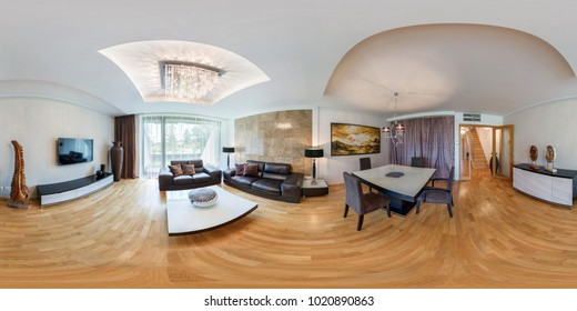 PRAHA, CZECH - AUGUST 8, 2013: 360 panorama view in interior of luxury furnished guest hall and big windows, full 360 by 180 degrees angle panorama in equirectangular projection, skybox VR content