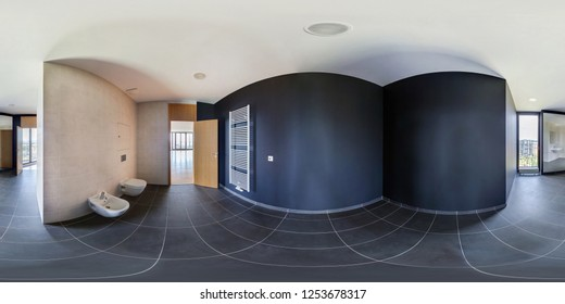 PRAHA, Czech - JULY, 2014: 360 panorama in empty restroom bathroom in loft, full seamless panorama 360 degrees angle view in equirectangular spherical projection, skybox VR content