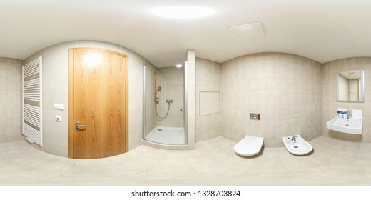 PRAHA, CZECH -  MAY 2014: full seamless spherical panorama 360 degrees view in modern white empty restroom bathroom with shower cabin in equirectangular spherical projection, ready VR AR content