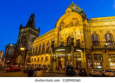 Praha, Czech Republic - July 09,2016 - Municipal House and Powder Tower in Prague