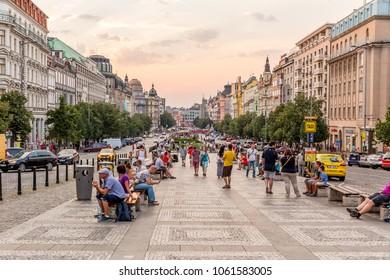 Praha, Czech Republic - July 10,2015 - Wenceslas Square in Prague