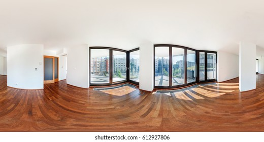 PRAHA, Czech Republic - JULY 21, 2014:  Panorama of modern white empty loft apartment interior living hall room, full 360 seamless panorama in equirectangular spherical projection,  skybox VR content